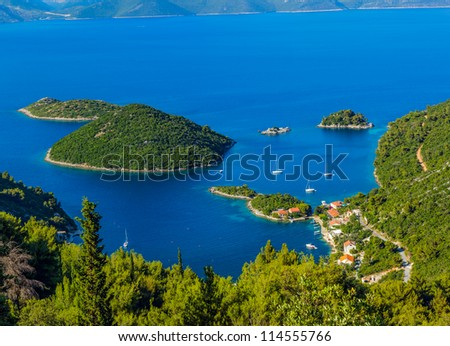 Adriatic landscape panorama on island Mljet, Dubrovnik archipelago, Croatia. - stock photo