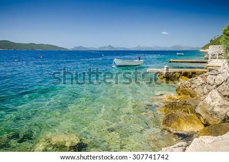 Adriatic sea bay rock near Slano, Croatia - stock photo