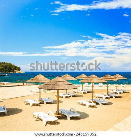 Adriatic Sea Beach in Croatia. Mediterranean Vacation and Travel Concept. Copy Space. - stock photo