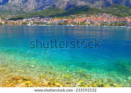 Adriatic sea bottom illuminated by sun, Makarska, Croatia - stock photo