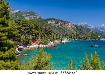 Adriatic sea landscape view from Rataca park. Sutomore, Montenegro. - stock photo