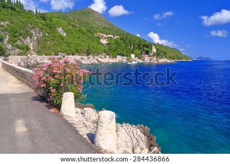 Adriatic sea shore with scenic road above the blue water, Trsteno, Croatia - stock photo