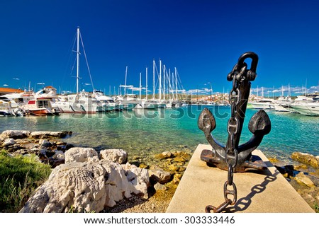 Adriatic town of Rogoznica sailing harbor, Dalmatia, Croatia - stock photo