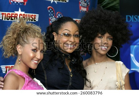 """Adrienne Bailon, Kiely Williams and Raven Simone at the """"Tiger Cruise"""" Los Angeles Premiere held at the Directors Guild of America in Los Angeles, California United States on July 27 2004. - stock photo"""