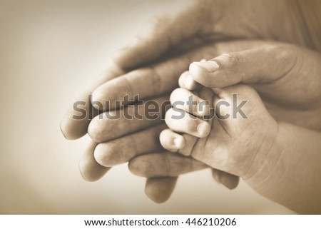 Adult and baby hands, closeup - stock photo