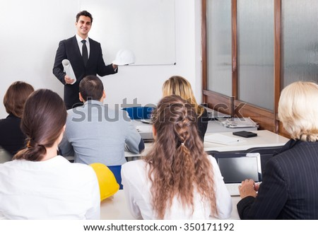 adult architects having advanced training courses in classroom - stock photo