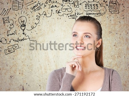 Adult. Beautiful woman with questioning expression and question marks above her head - stock photo