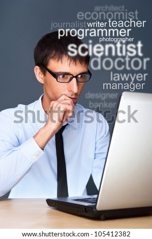 Adult business man looking for staff of different professions - stock photo