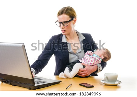 Adult business woman wearing a costume and supplied her newborn daughter in the office workplace, isolated against a white background.