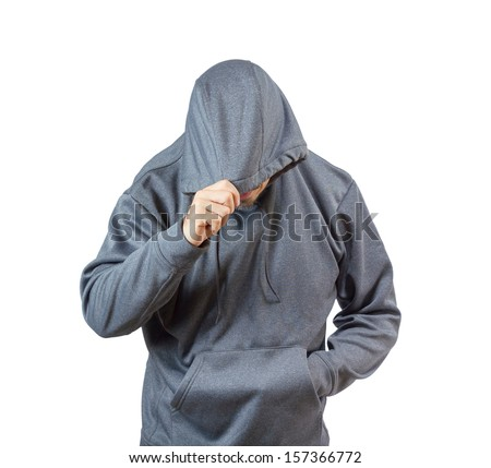 Adult caucasian man in hooded sweatshirt isolated on white background. - stock photo