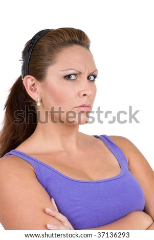 Adult caucasian woman glares, giving off an mean attitude. - stock photo