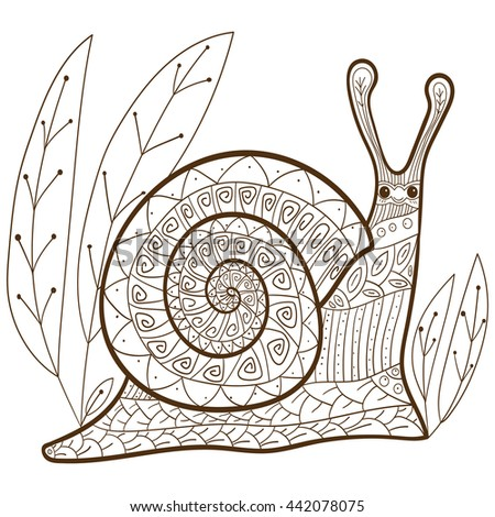 Adult Coloring Book Page Cute Snail Happy Smiling In Forest Whimsical Line Art