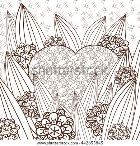 Adult Coloring Page Heart Whimsical Garden Stock Illustration