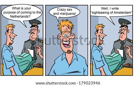 Adult comics strip 2 - stock photo
