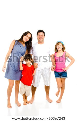 Adult Couple and children on white background . - stock photo