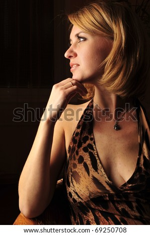 Adult dreaming woman beauty portrait - stock photo