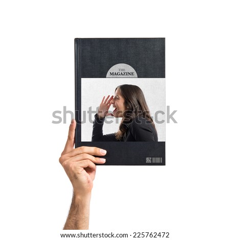 Adult girl shouting printed on book