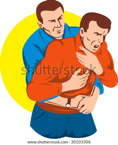 Adult giving another adult male a heimlich maneuver - stock photo