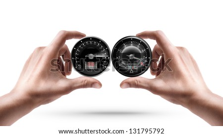 Adult male hands holding External tachometer isolated on white background