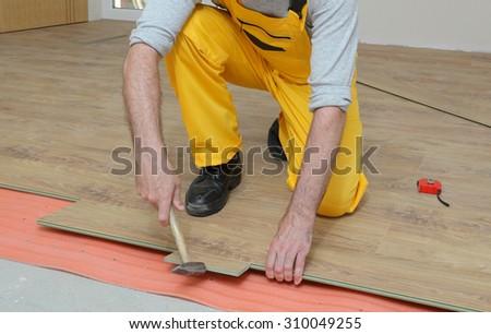 Adult Male Worker Installing Laminate Floor Stock Photo Image