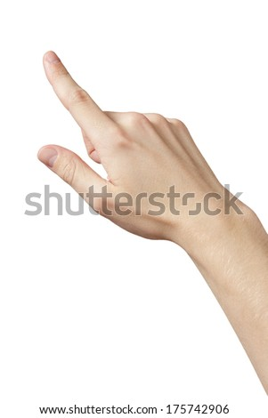 adult man hand clicking or pressing something, touch gesture isolated - stock photo