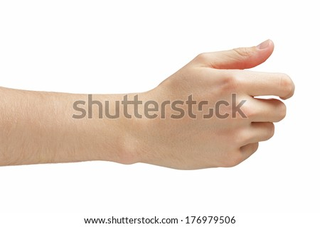 adult man hand giving or holding something like business card, isolated on white - stock photo