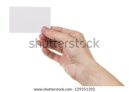 adult man hand holding blank card, isolated on white - stock photo