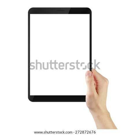 adult man hand holding generic tablet pc with white screen, isolated - stock photo