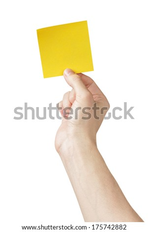 adult man hand holding sticky note, isolated on white