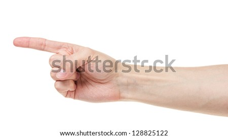 adult man hand pointing, isolated on white