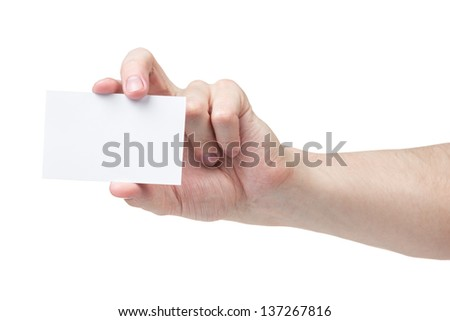adult man hand showing blank visiting card, isolated on white - stock photo