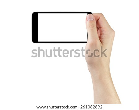 adult man hand taking photo with generic smartphone, isolated - stock photo