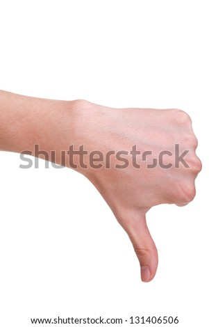 adult man hand thumb down, isolated on white background