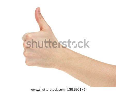 adult man hand thumb up, isolated on white - stock photo