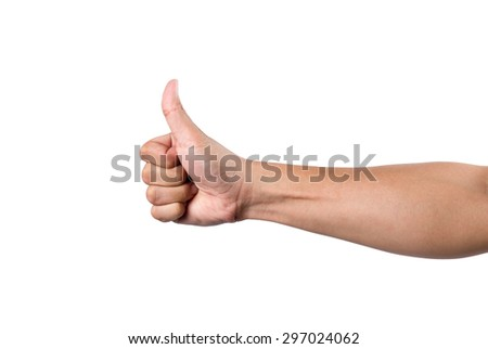 adult man hand thumb up, isolated on white
