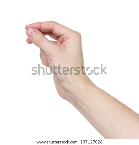 adult man hand to hold something flat, isolated on white - stock photo