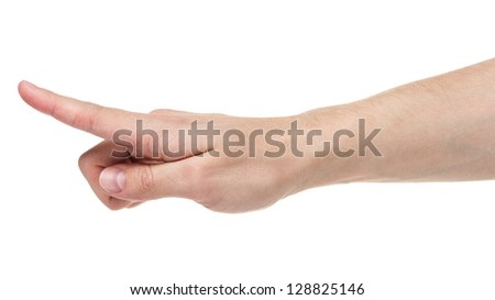 adult man hand touching virtual screen, isolated on white