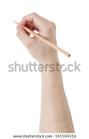 adult man hand write something with pencil, isolated on white