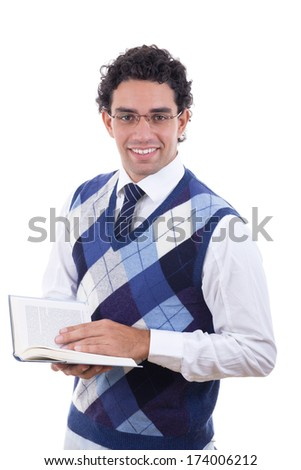 adult man in sweater holding an open book