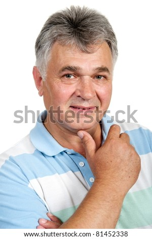 Adult man pose on white background is insulated