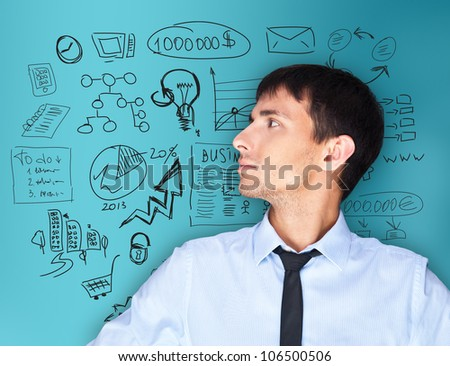 Adult man thinking of his plans - stock photo