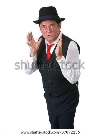 Adult man with blue eyes using his hands to show his displeasure. Shot against a white background.