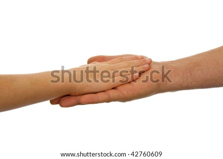 Adult men and child handshake over white background