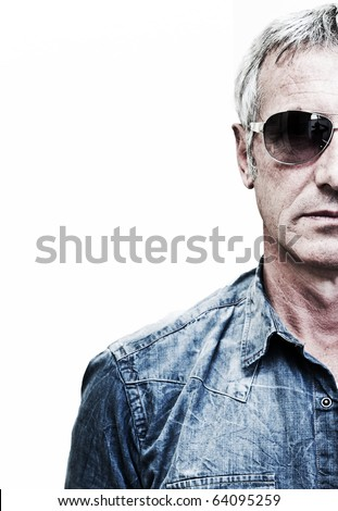 Adult model wearing sunglasses (half portrait) - stock photo