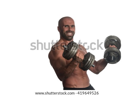 Adult Muscular Bodybuilder Guy Doing Exercises With Dumbbells Over White Background