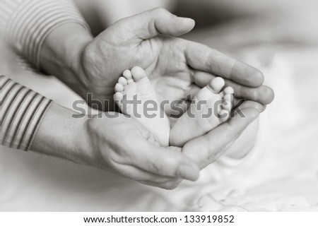 adult palms holding little baby feet