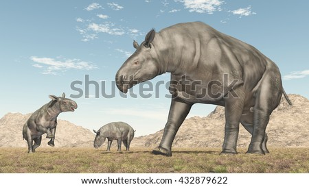 Adult Paraceratherium and baby Paraceratherium Computer generated 3D illustration