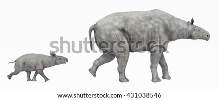 Adult Paraceratherium and baby Paraceratherium isolated on white background Computer generated 3D illustration
