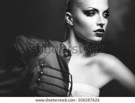 adult sexy blonde woman in red jacket with red lips - stock photo
