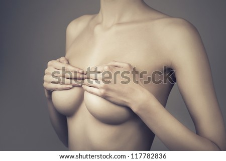 adult woman with breasts - stock photo
